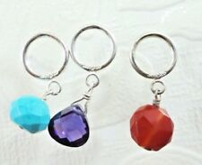Silpada lot of 3 Faceted Howlite Carnelian CZ Sterling Silver Slider Charms New