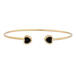 14Kt Gold Genuine Black Onyx Heart Bezel Bangle Bracelet