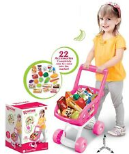 KIDS CHILDRENS ROLE PLAY SUPERMARKET SHOPPING TROLLEY SET WITH FOOD ACCESSORIES