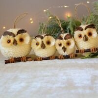 Owl Decor Ornament Hang Natural Handcrafted Christmas tree Cute Bird Wedding Dec