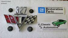 V-Flag 327 Fender Emblem 6pc Set w/retainers Camaro Chevelle Nova **In Stock**