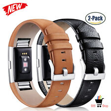 BLACK BROWN LEATHER 2-PACK Wristband Strap Band Accessories For FITBIT CHARGE 2