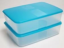 New Tupperware Freezer Mate Large II 3.1L Blue Lids FreezerMate (Set of 2)