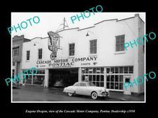 OLD LARGE HISTORIC PHOTO OF EUGENE OREGON THE PONTIAC CAR DEALERSHIP c1950