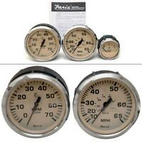 Faria Boat Gauge Set | Euro Beige Stainless Steel (3 Piece)