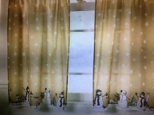 Christmas Holiday Snowman Tier Curtain NEW