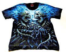 Spiral Flaming Spine T-Shirt Black Size Medium Fiery Gothic Skull Pattern