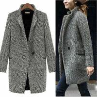 Women Parka Jacket Slim Wool Winter Outwear Trench Long Warm Coat Lapel Overcoat
