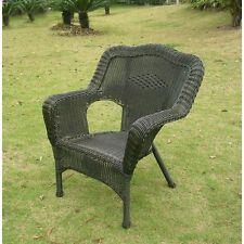 International Caravan Resin Wicker Patio Chairs (Set of 2), Antique Black