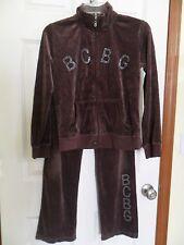 BCBG Maxazria Girl's Size 16 Brown Velour Jogging Track Suit Rhinestones