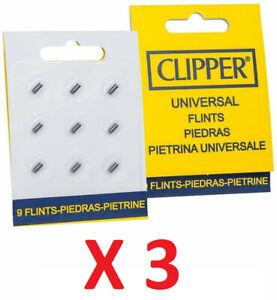 LOT de 3 x 9 Pierres à feu Universel / Marque CLIPPER pour briquets Clipper X27