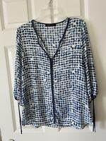 IVANKA TRUMP Floral Print 3/4 Tie Sleeve Flowy Top Blouse Shirt Women's Medium M