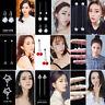 Fashion Women Korean Style Tassel Leaves Crystal Pearl Rhinestone Stud Earrings