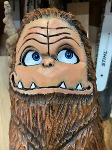 BEER BELLY BIG FOOT Chainsaw Carving SASQUATCH Statue White Pine Wood UNIQUE ART