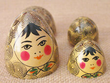 Unique Nesting Dolls Egg Set 2 Dolls Handpainted Wood Rosy Cheeked Darling Women
