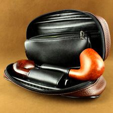 Tobacco Pouch Durable Portable Smoking Pipe Case Bag Holds 2 Pipes Soft Leather