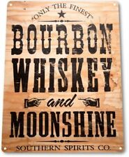 Bourbon Whiskey Moonshine Retro White Wall Decor Bar Man Cave Metal Tin Sign New