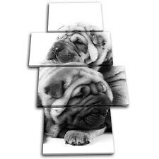 Pug Puppies Dog Animals MULTI TOILE murale ART Photo Print