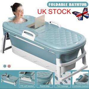 UK Large Folding Portable Bathtub Adult Child Warm Spa Sauna Soaking Barrel &Lid