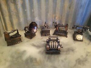 Lot of 6 Vintage 1970s Durham Die Cast Metal Miniatures Grinder Phone Sad Iron