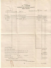TJ Davis Sheriff Fayette County WV Tax bill/receipt 1916 Louis De Pui Vail Phila
