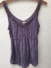 Urban Outfitters Ecote Plum Beaded Empire Waist 100% Silk Top Small