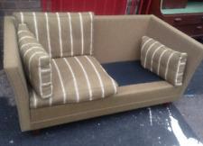 Vintage retro mid century 60s 70s Danish 2 seat stripy wool green sofa couch