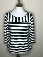 Talbots Navy Blue Stripe Medium Petite 3/4 Sleeve Nautical Women's Top Shirt