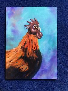 """"""" Thelma"""" Chicken Bird Acrylic With Alcohol Ink Background Original"""