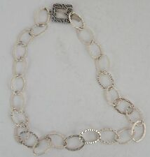 Fine hand hammered sterling silver link designer chain, necklace signed JBB