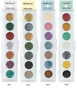 METALLIC RUB ON Paint Palettes 7 Colors Polymer Clay Paper CHOOSE COLOR SET