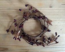 Primitive burgundy pip berry & stars candle ring 2.5""