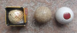 3 Antique Vintage Golf Balls Penfold Original Box Warwick Mesh Round Bank Ball