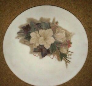 VINTAGE ANTIQUE WHITE GLASS PLATE HAND PAINTING FLOWER BANQUET