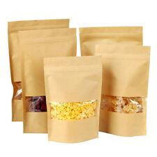 20X kraft paper food bags with Window Self Sealing Envelope Shopping Bag NEW
