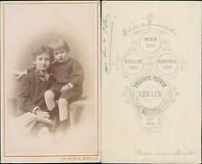 Theodor Prümm, Berlin, Deux petits garçons en pose, circa 1875 CDV vintage album