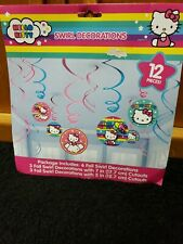 NEW HELLO KITTY FOIL SWIRL DECORATIONS 12 PIECES