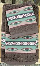 Southwest/Western Towel set, 3 pc in brown with custom Aztec Border