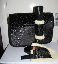 CAPRIOLE HORSE ACCESS SPARKLE STARS BLACK SADDLE CLOTH/PAD BOOTS SET PONY SIZE