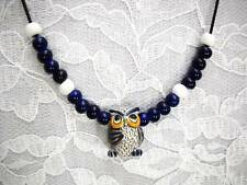 NEW HAND PAINTED & FIRED 3D HOOT OWL CERAMIC PENDANT BEADED ACCENT ADJ NECKLACE