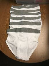 Men's Stafford White Briefs Size 34 Lot Of 6 Gray Waistband Tailored Culture