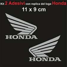 Kit 2 Adesivi Honda Moto Stickers Adesivo 11 x 9 cm decalcomania ARGENTO