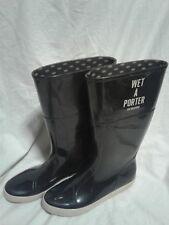 Love Moschino Fashion Black Rubber Rain Mud Boots Italy 7.5