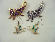 Geese goose lot 2 brooches one gold one silver & pair earrings shell inlay