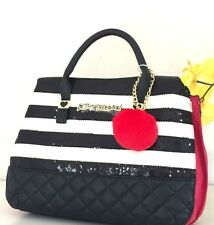NWT BETSEY JOHNSON BAG 3 COMPARTMENT STRIPE BLACK WHITE RED SEQUIN SATCHEL $118