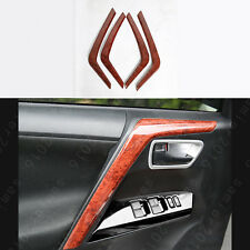 Wood Grain Color Door Handle Armrest Stripe Cover Trim For Toyota RAV4 2013-2017