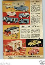 1962 PAPER AD Toy Buddy L Coke Truck Milk Transport Camper Boat Tonka Ser-Vi-Car