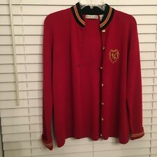 ChAUS Red Black Button Women cardigan Fleur de Lis design Size S