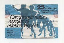 Biglietto Ticket CAMPIONATI ITALIANI ASSOLUTI DI ATLETICA LEGGERA Torino 1980
