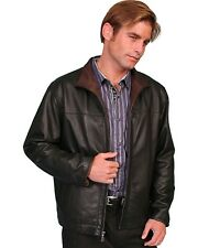 Scully Leather Mens Premium Lambskin Zip Front Jacket Chocolate and Cognac Soft